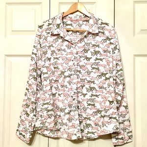 Crown & Ivy panther/cat button down top